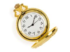 Gold pocket watch isolated on whit Stock Photos