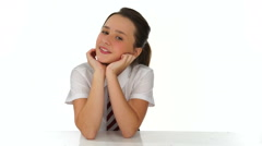 Beautiful young school girl with a lovely smile Stock Footage