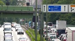4K FHD Traffic Jam on a rushhour commuter traffic Munich Middle Ring Germany Stock Footage