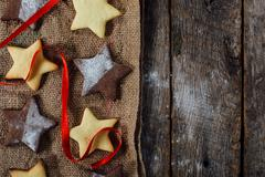 Christmas cookies on wooden background Stock Photos