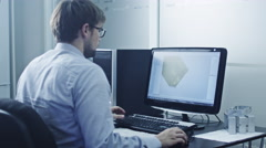 Engineer is Working in CAD Program - stock footage
