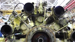 Rocket engine and mechanism on millitary plant, heavy industry Stock Footage