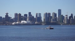 Vancouver Downtown, Waterfront From North Shore Stock Footage