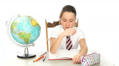 School Girl Sitting at Desk Looking Bored Stock Footage