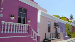 Bright houses in a street in cape town, south africa Stock Footage