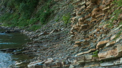Rock patterns formed by water erosion in Carpathians - stock footage