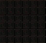 repeating maze like design golden edge - stock illustration