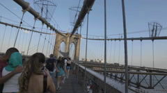 Tourists Brooklyn Bridge Manhattan Skyline New York City Sunset Beautiful NYC 4K Stock Footage