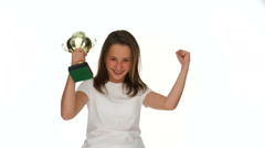 Victorious young girl with a silver trophy Stock Footage