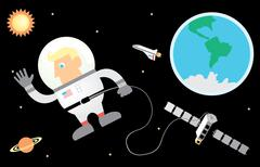 Astronaut and Space - stock illustration