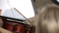 Musical quartet. Violinist player. Medium shot. SESSION KEYWORD: uzhursky003 Stock Footage