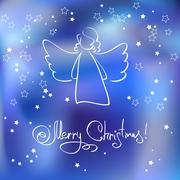 Christmas Card with Angel Stock Illustration