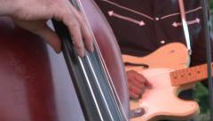 Upright Bassist Playing Close Up Stock Footage