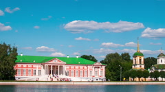 Vacationers go boating about Kuskovo palace. century remained Stock Footage