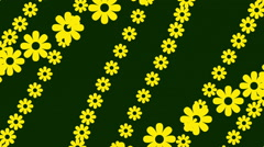 Yellow flowers and green background, turbulence flowers, loop Stock Footage