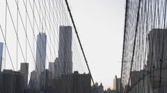 Brooklyn Bridge Freedom Tower Manhattan Skyline New York City NYC USA 4K Stock Footage