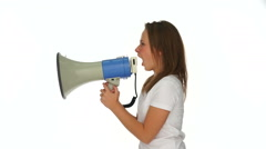 Furious young girl yelling into a megaphone Stock Footage
