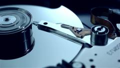 Dolly shot of Hard disk drive with spinning platte Stock Footage