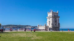 Belem tower in lisbon Stock Footage