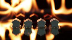 Burning wooden toy houses Stock Footage