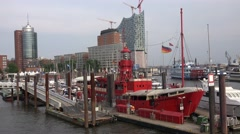 4k Fireship and event gastronomy in Hamburg harbour - stock footage