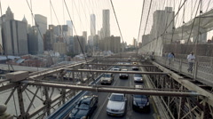 Brooklyn Bridge Traffic Cars Realtime New York City Manhattan Skyline NYC USA 4K Stock Footage