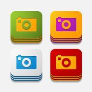 square button: photo - stock illustration