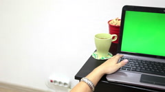 Young woman hands typing and working with computer mouse, green screen laptop - stock footage