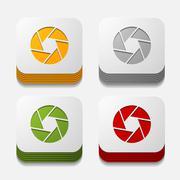 Square button: photo Stock Illustration