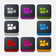 Stock Illustration of square button: video
