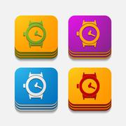 Stock Illustration of square button: watch