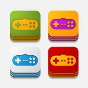 Square button: joystick Stock Illustration