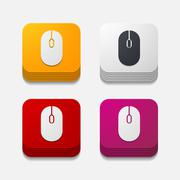 square button: mouse - stock illustration