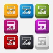 Square button: computer Stock Illustration