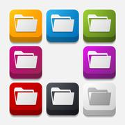 Stock Illustration of square button: folder
