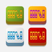 Square button: folder Stock Illustration