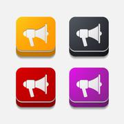 square button: megaphone - stock illustration