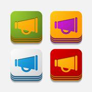 square button: megaphone - stock illustration