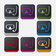 square button: mask - stock illustration
