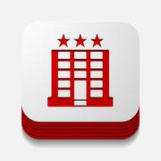 square button: hotel - stock illustration