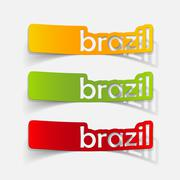 realistic design element: brazil - stock illustration