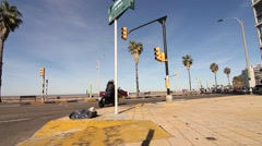 Rambla of Pocitos in Montevideo Stock Footage