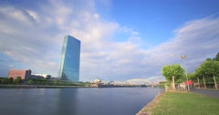 European Central Bank at River Main Time-lapse 4K Stock Footage