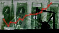 Stock Video Footage of Diesel, fuel, petrol Money upward trend arrow, pump & dollars