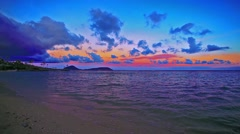 Sunset at the Waialae Beach Park, Honolulu, Oahu, Hawaii Stock Footage