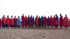 MAASAI WARRIOR AFRICAN TRIBAL CULTURE DANCING SINGING CHANTING CHORUS Stock Footage