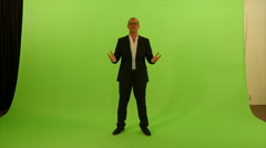 Young successful business isolated on green screen. talking presenting Stock Footage