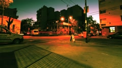 Nightly street scene in Palermo in Buenos Aires Stock Footage