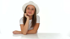 Thoughtful young girl with a cute hat Stock Footage