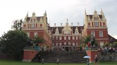 New Castle in Muskau Park - famous English garden in Europe. Park Muzakowski Stock Footage